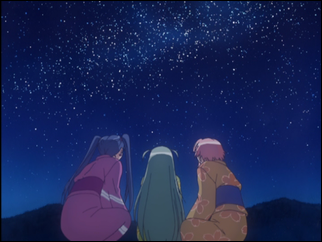 Aika, Alice, and Akari look up at the starry night sky.