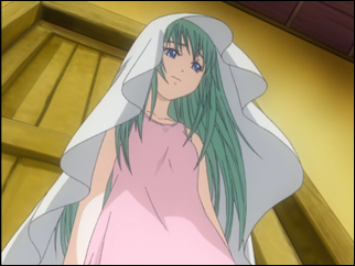 Alice with a towel over her head.