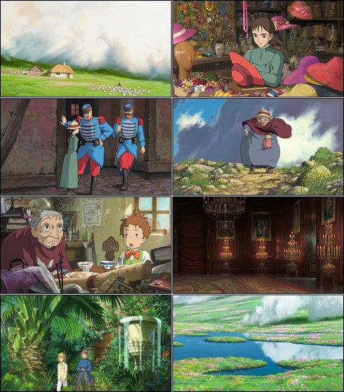 Collage of screenshots from Howl's Moving Castle.