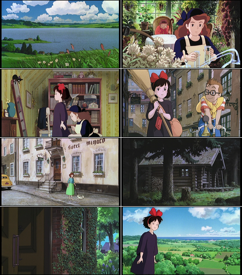 Collage of screenshots from Kiki's Delivery Service.