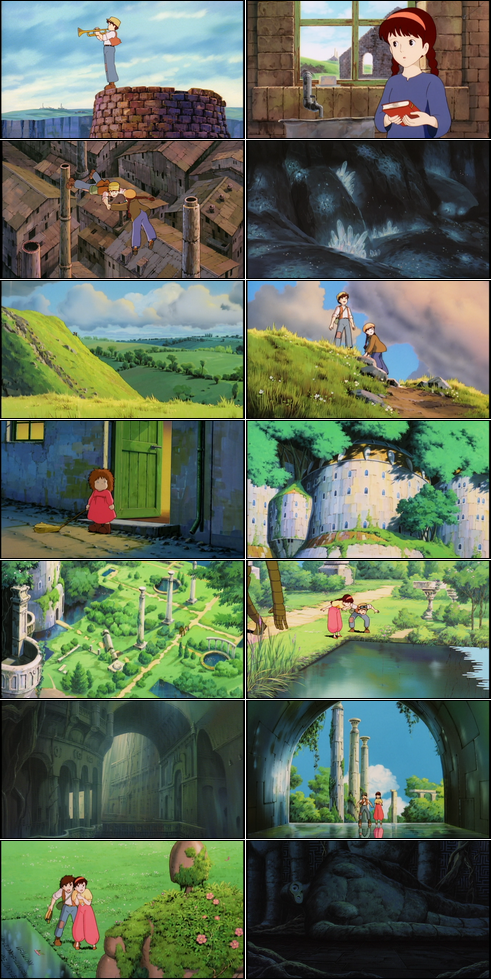 Collage of screenshots from Castle in the Sky.