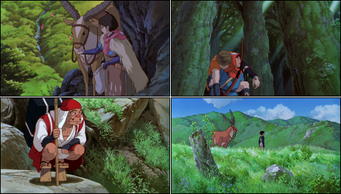 Collage of screenshots from Princess Mononoke.