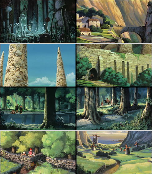 Collage of screenshots from Nausicaä of the Valley of the Wind.
