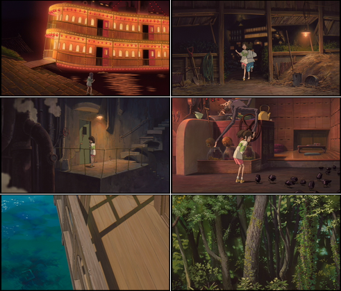 Collage of screenshots from Spirited Away.