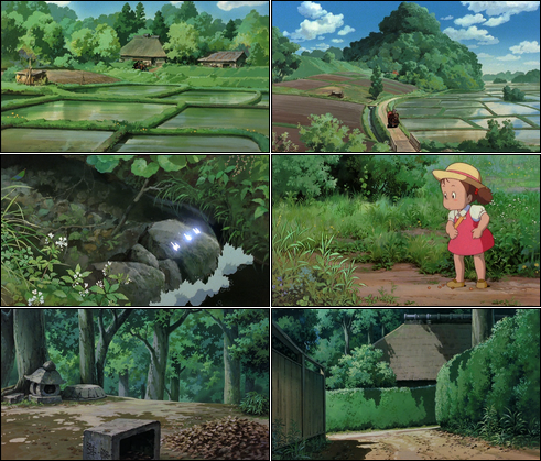 Collage of screenshots from My Neighbor Totoro.