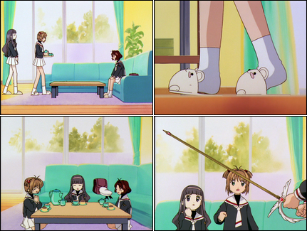 Collage of images showing Sakura, Tomoyo, and Rika enjoying a snack, until The Sword appears.