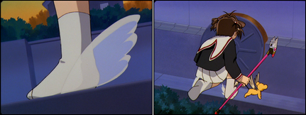 Collage of images showing Sakura sans shoes after using Fly.