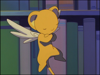 Kero floating, eyes closed.