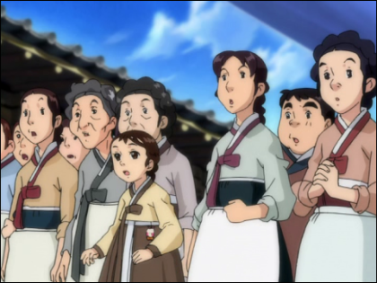 Screenshot of Janggeum and other commoners, all wearing pale-colored hanbok.