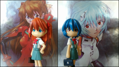 Collage of images of Rei and Asuka.